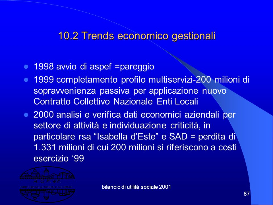 10.2 Trends economico gestionali