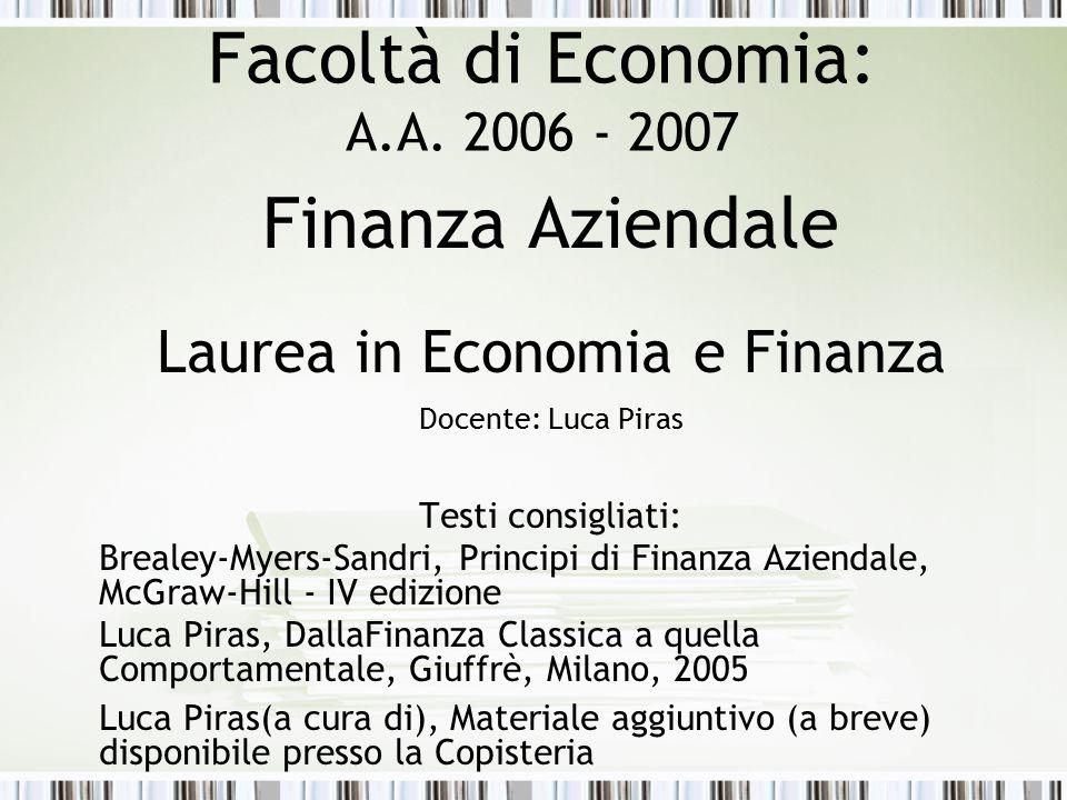 Facoltà di Economia: A.A. 2006 - 2007