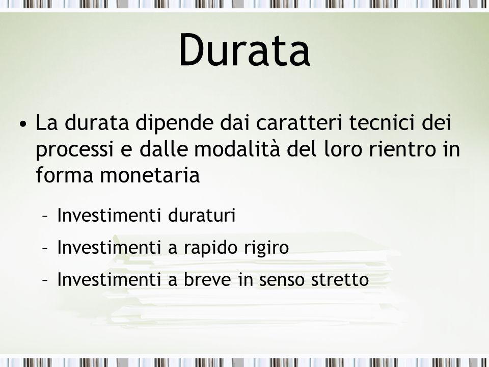 Durata La durata dipende dai caratteri tecnici dei processi e dalle modalità del loro rientro in forma monetaria.