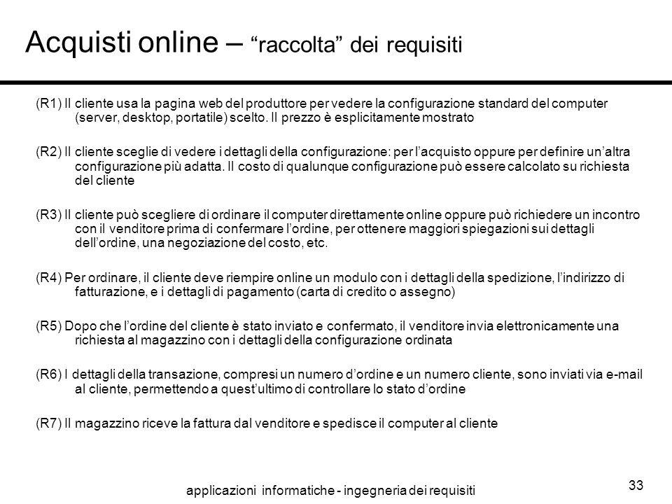 Acquisti online – raccolta dei requisiti