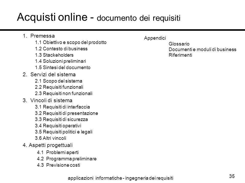 Acquisti online - documento dei requisiti