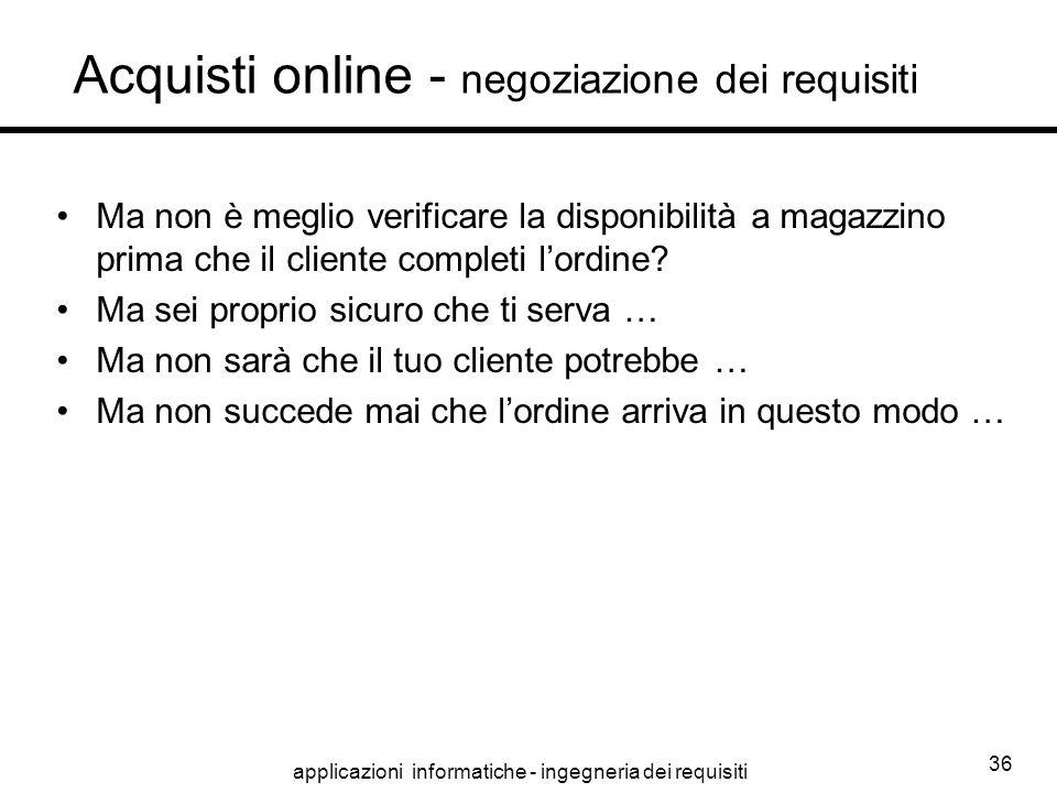 Acquisti online - negoziazione dei requisiti