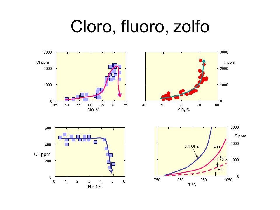 Cloro, fluoro, zolfo Cl ppm H O % 3000 3000 Cl ppm F ppm 2000 2000