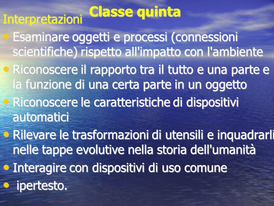Classe quinta Interpretazioni