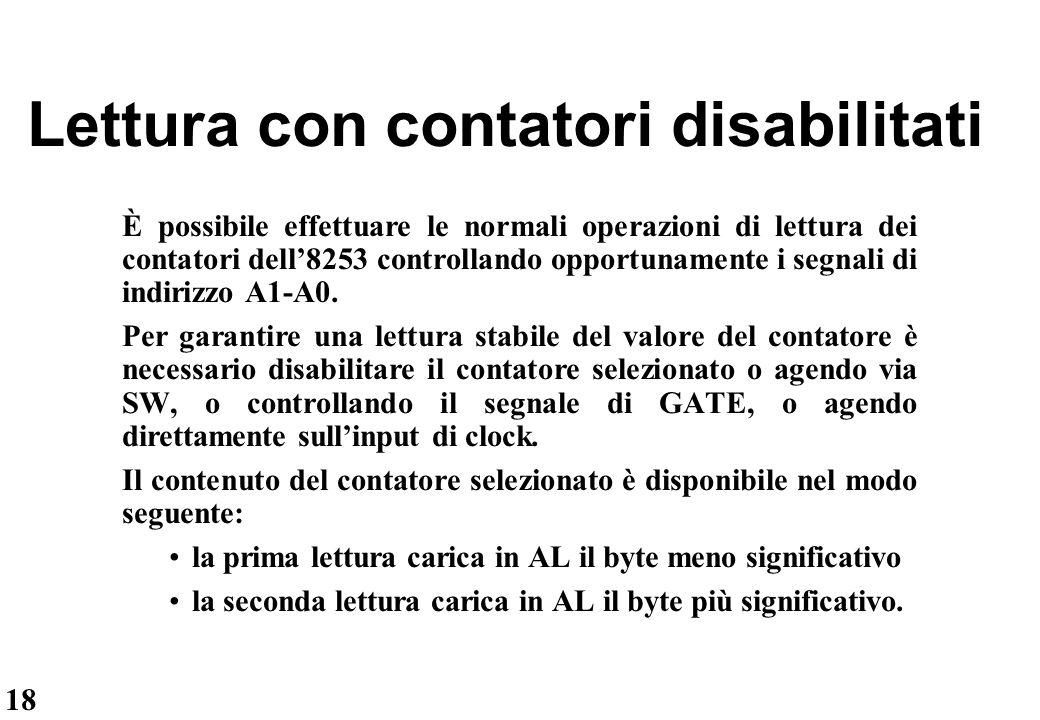 Lettura con contatori disabilitati