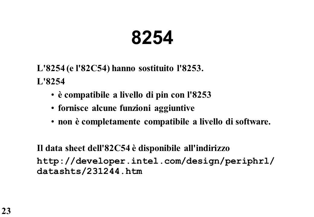 8254 L 8254 (e l 82C54) hanno sostituito l 8253. L 8254