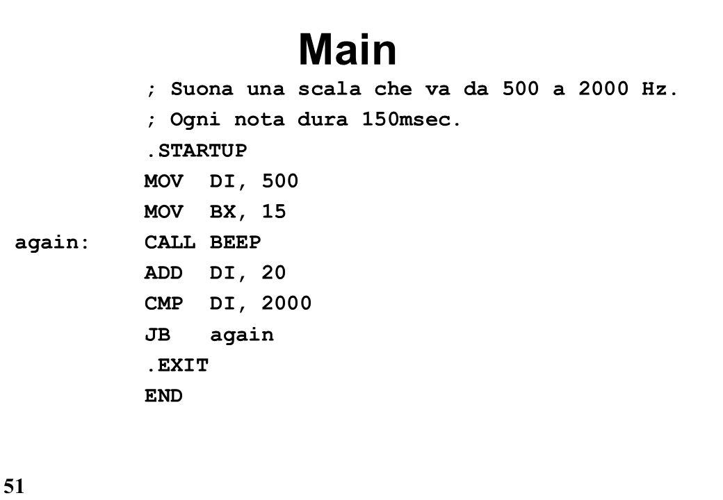 Main ; Suona una scala che va da 500 a 2000 Hz.