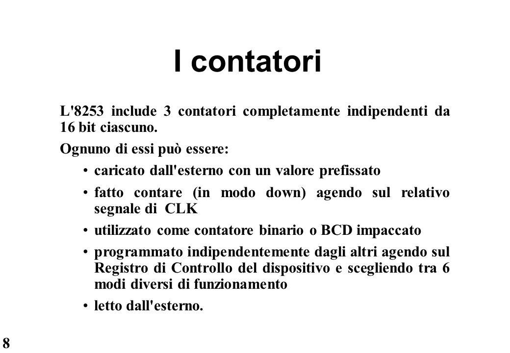 I contatori L 8253 include 3 contatori completamente indipendenti da 16 bit ciascuno. Ognuno di essi può essere: