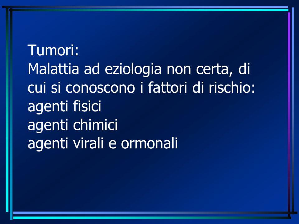 Tumori: Malattia ad eziologia non certa, di cui si conoscono i fattori di rischio: agenti fisici agenti chimici agenti virali e ormonali