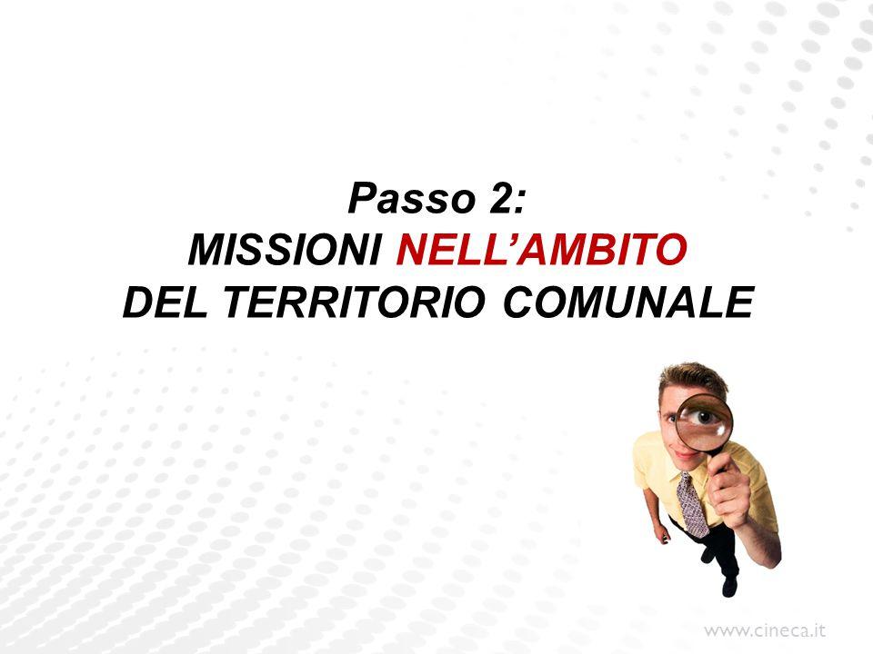 Passo 2: MISSIONI NELL'AMBITO DEL TERRITORIO COMUNALE