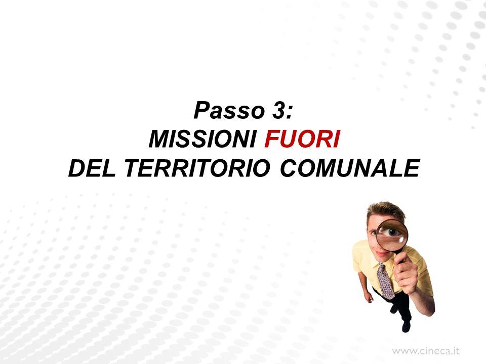 Passo 3: MISSIONI FUORI DEL TERRITORIO COMUNALE
