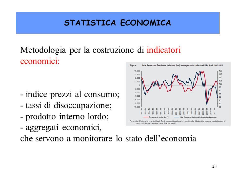 Metodologia per la costruzione di indicatori economici: - indice prezzi al consumo; - tassi di disoccupazione; - prodotto interno lordo; - aggregati economici, che servono a monitorare lo stato dell'economia