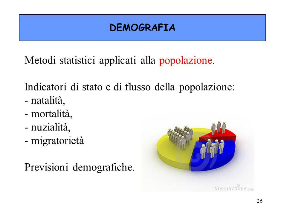 Metodi statistici applicati alla popolazione