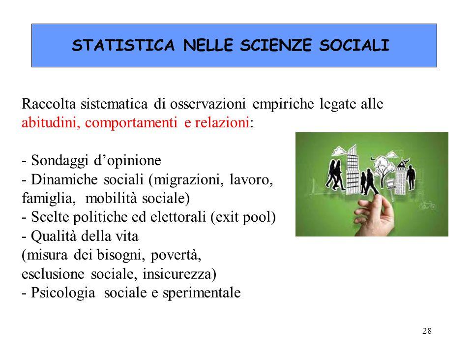 STATISTICA NELLE SCIENZE SOCIALI