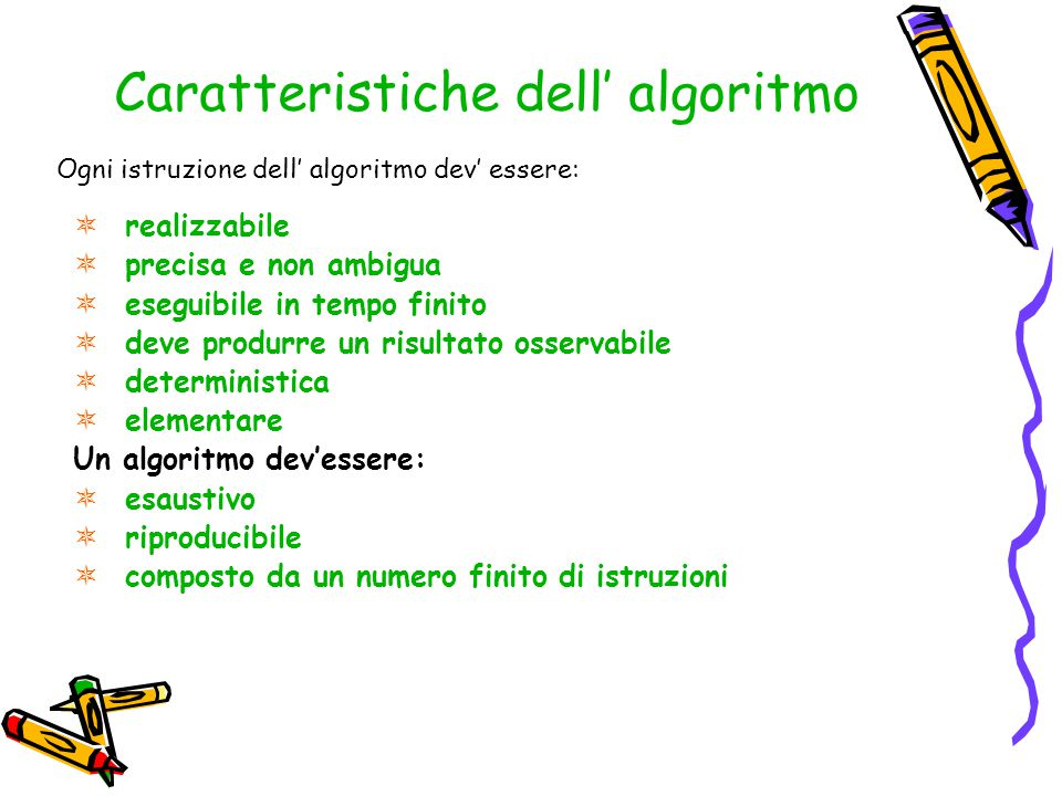 Caratteristiche dell' algoritmo