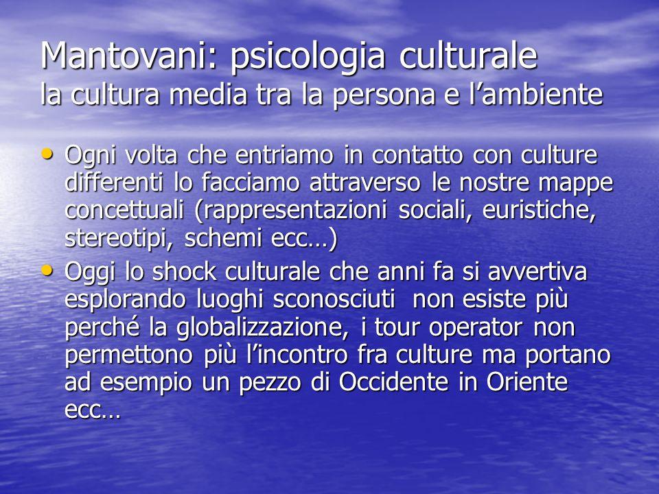 Mantovani: psicologia culturale la cultura media tra la persona e l'ambiente