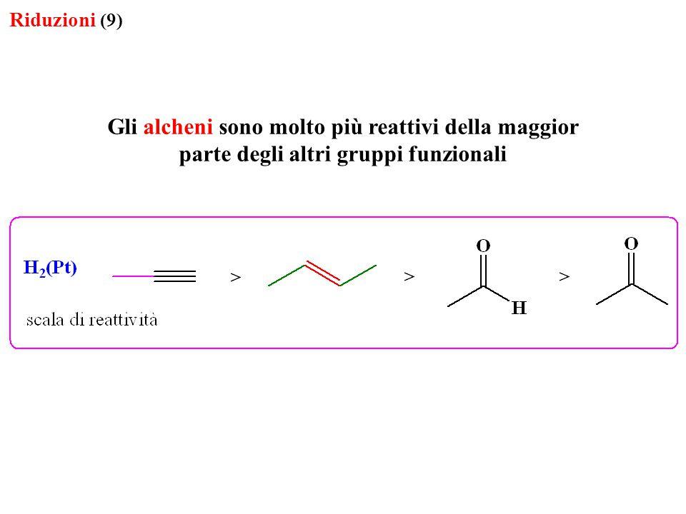 Riduzioni (9) Gli alcheni sono molto più reattivi della maggior parte degli altri gruppi funzionali