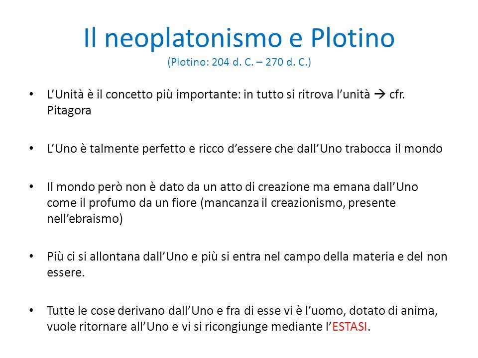 Il neoplatonismo e Plotino (Plotino: 204 d. C. – 270 d. C.)