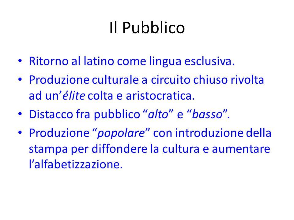 Il Pubblico Ritorno al latino come lingua esclusiva.