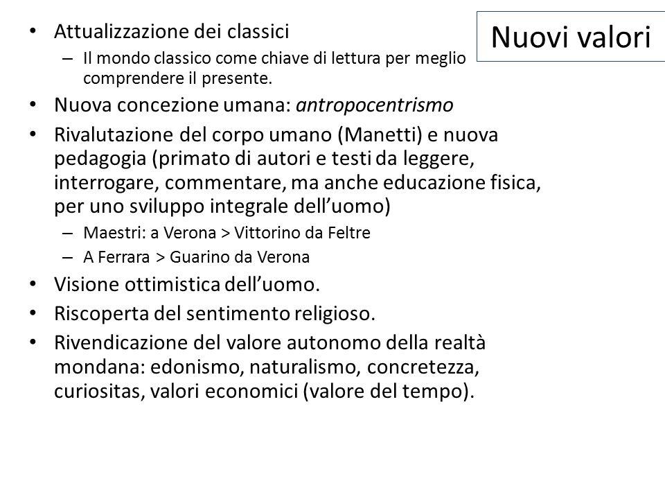 Nuovi valori Attualizzazione dei classici