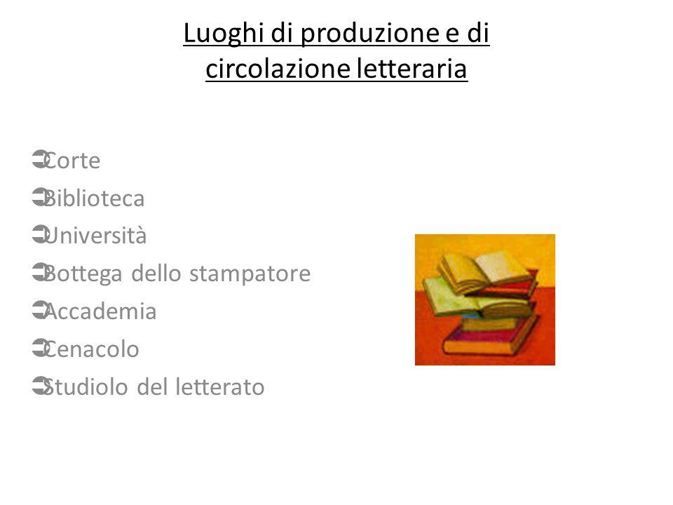 Luoghi di produzione e di circolazione letteraria