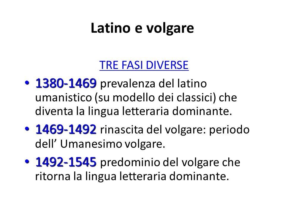 Latino e volgare TRE FASI DIVERSE. 1380-1469 prevalenza del latino umanistico (su modello dei classici) che diventa la lingua letteraria dominante.