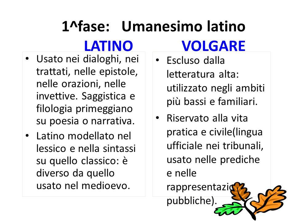 1^fase: Umanesimo latino LATINO VOLGARE