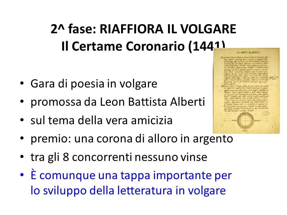 2^ fase: RIAFFIORA IL VOLGARE Il Certame Coronario (1441)