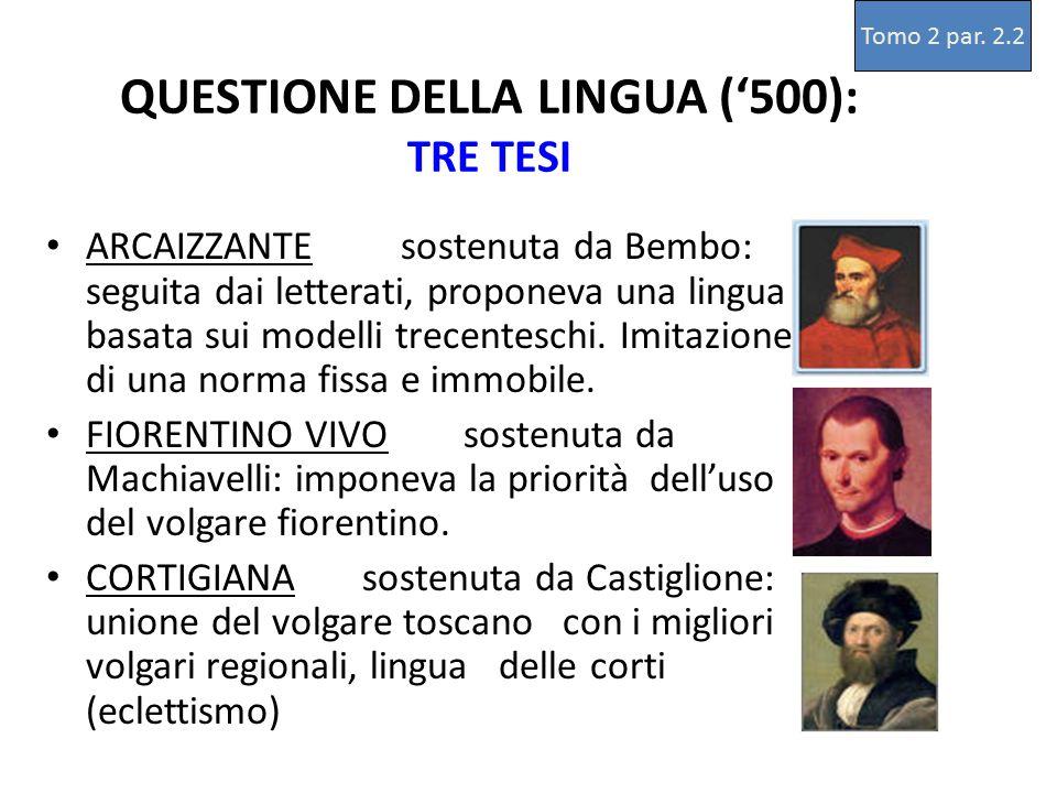 QUESTIONE DELLA LINGUA ('500): TRE TESI