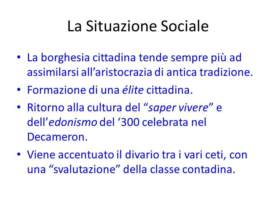 La Situazione Sociale La borghesia cittadina tende sempre più ad assimilarsi all'aristocrazia di antica tradizione.