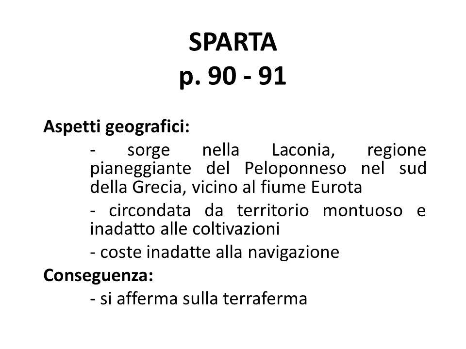 SPARTA p. 90 - 91 Aspetti geografici: