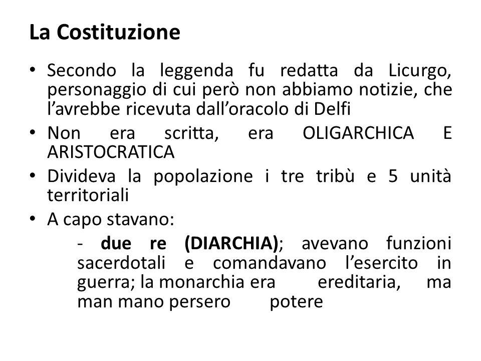 La Costituzione Secondo la leggenda fu redatta da Licurgo, personaggio di cui però non abbiamo notizie, che l'avrebbe ricevuta dall'oracolo di Delfi.