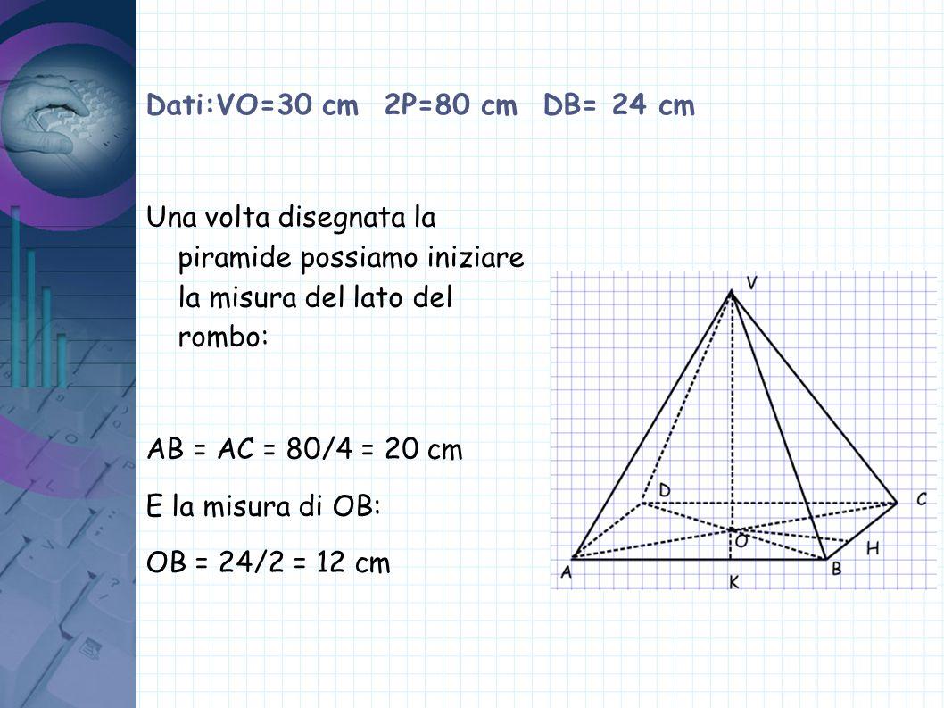 Dati:VO=30 cm 2P=80 cm DB= 24 cm Una volta disegnata la piramide possiamo iniziare la misura del lato del rombo: