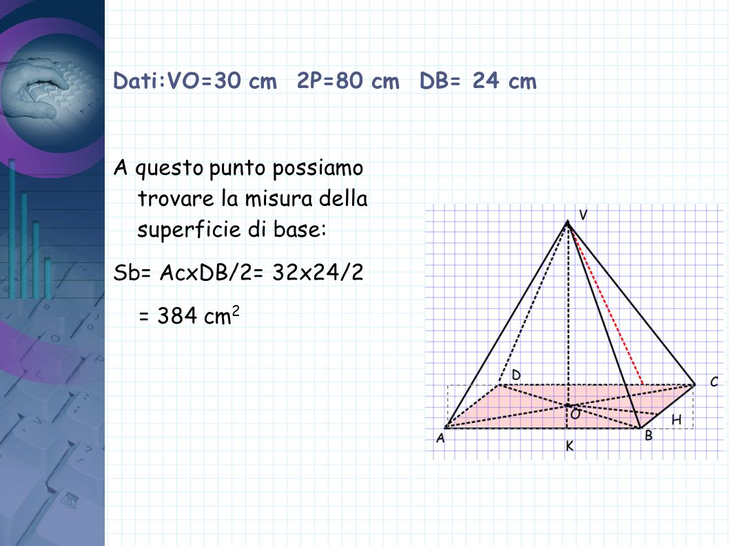 Dati:VO=30 cm 2P=80 cm DB= 24 cm A questo punto possiamo trovare la misura della superficie di base: