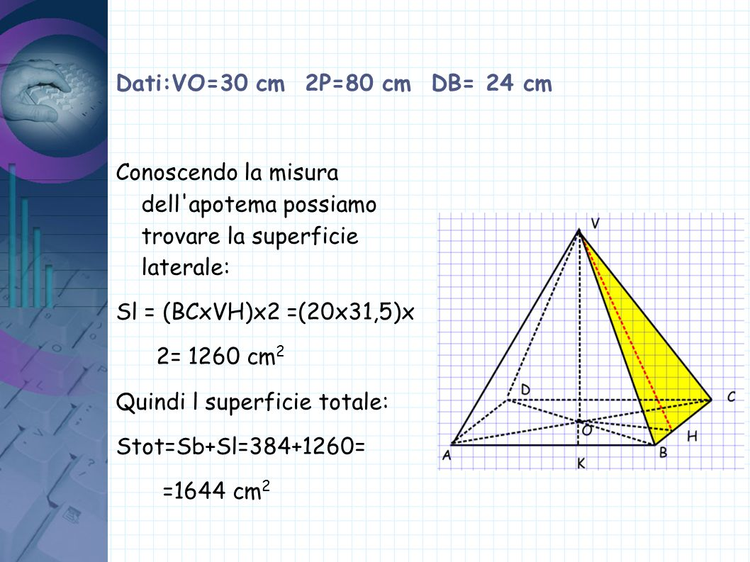 Dati:VO=30 cm 2P=80 cm DB= 24 cm Conoscendo la misura dell apotema possiamo trovare la superficie laterale: