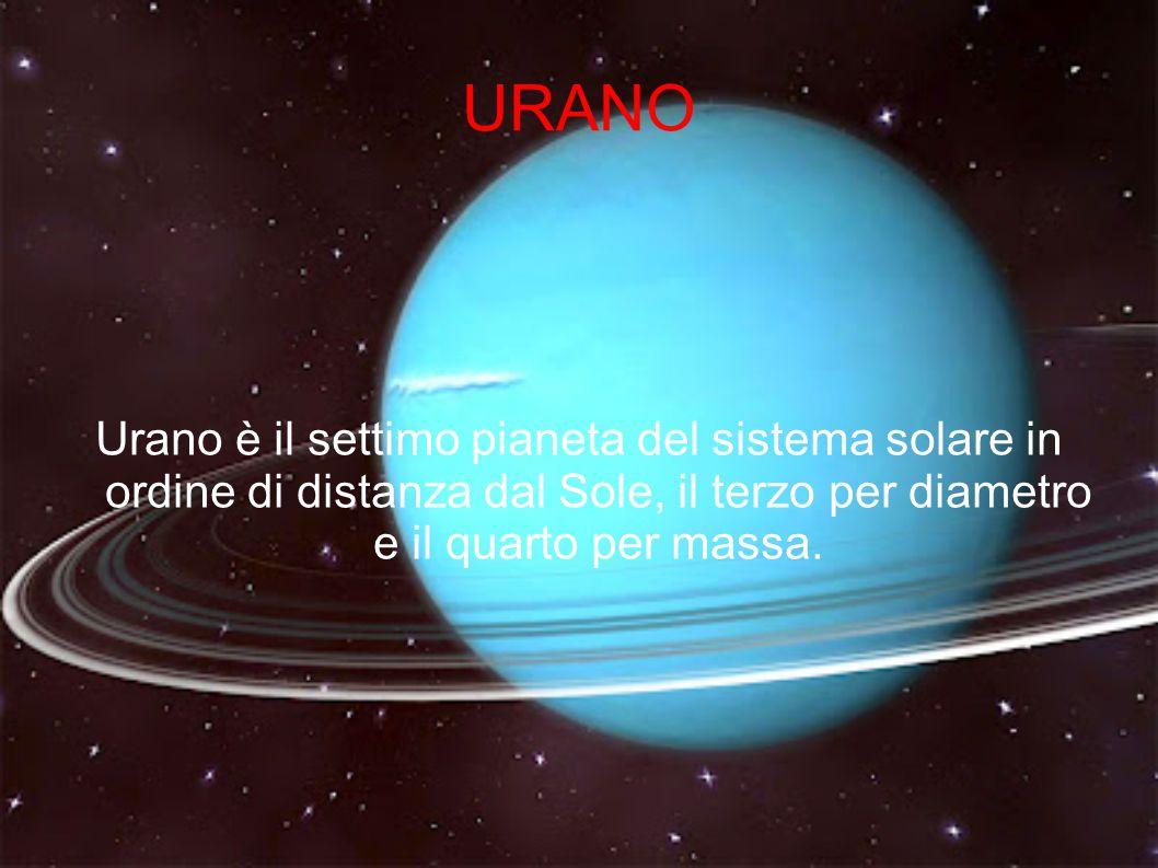 URANO Urano è il settimo pianeta del sistema solare in ordine di distanza dal Sole, il terzo per diametro e il quarto per massa.