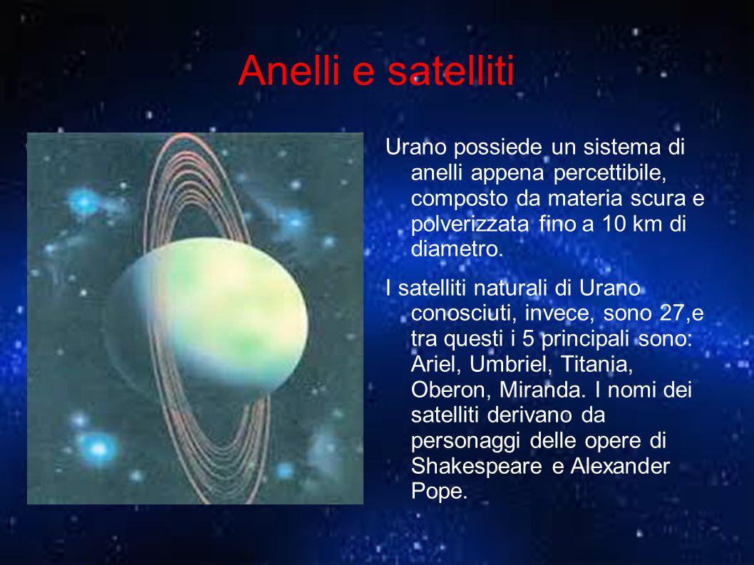 Anelli e satelliti Urano possiede un sistema di anelli appena percettibile, composto da materia scura e polverizzata fino a 10 km di diametro.