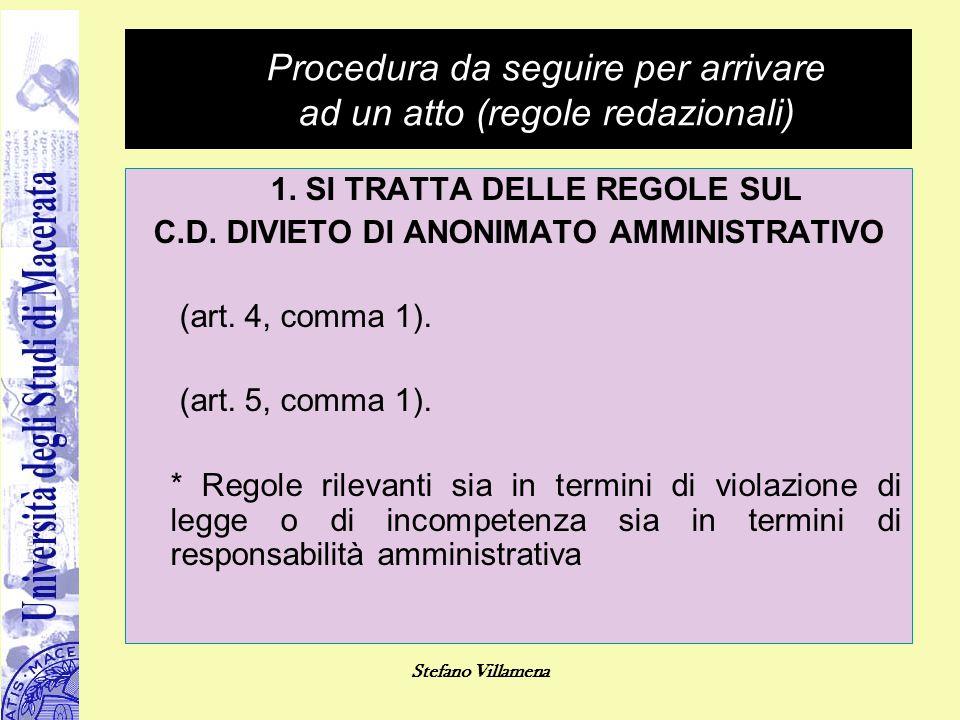 Procedura da seguire per arrivare ad un atto (regole redazionali)