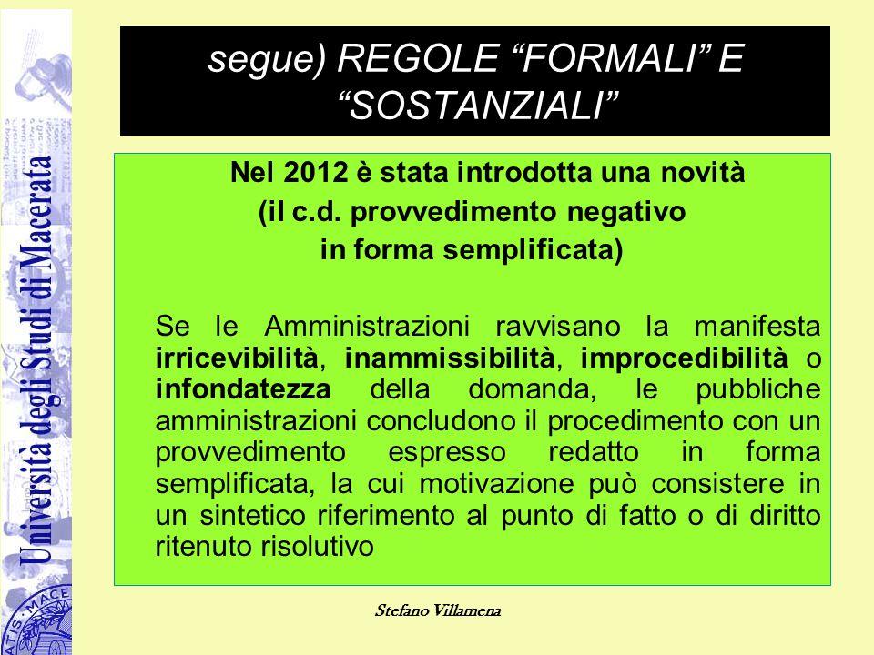 segue) REGOLE FORMALI E SOSTANZIALI