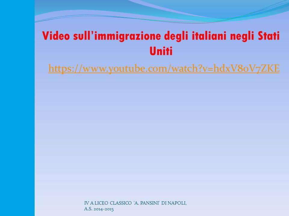 Video sull'immigrazione degli italiani negli Stati Uniti