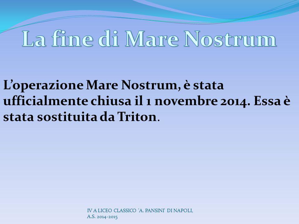 La fine di Mare Nostrum L'operazione Mare Nostrum, è stata ufficialmente chiusa il 1 novembre 2014. Essa è stata sostituita da Triton.