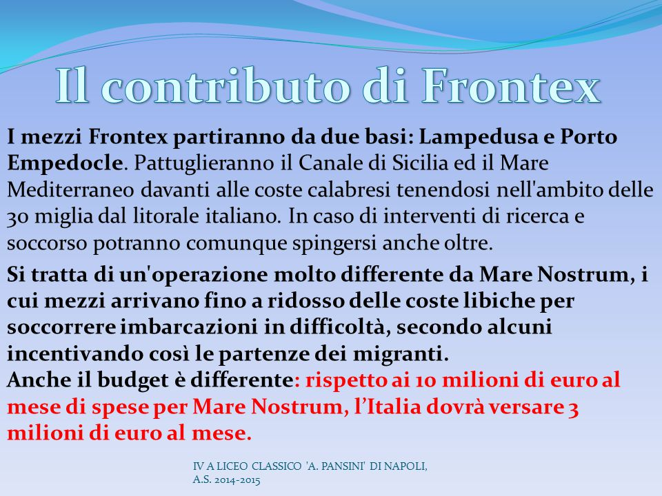 Il contributo di Frontex