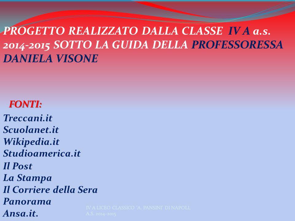 PROGETTO REALIZZATO DALLA CLASSE IV A a. s