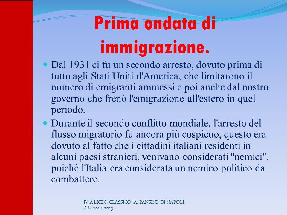 Prima ondata di immigrazione.