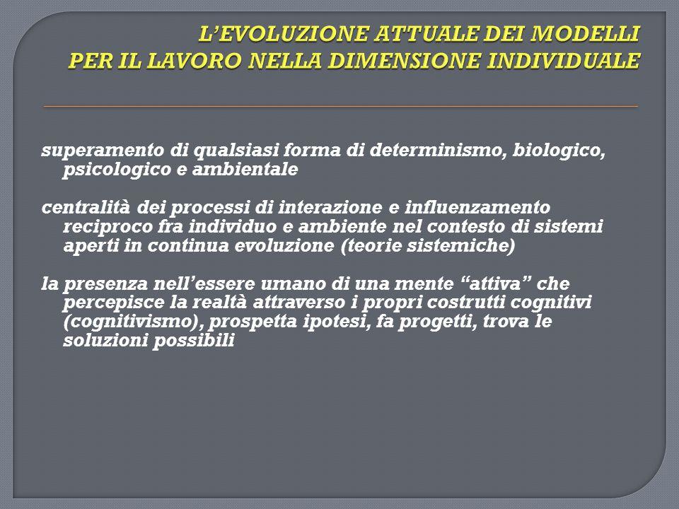 L'EVOLUZIONE ATTUALE DEI MODELLI PER IL LAVORO NELLA DIMENSIONE INDIVIDUALE