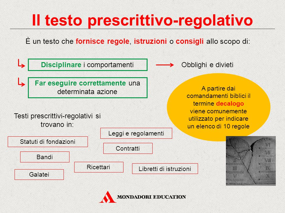 Il testo prescrittivo-regolativo