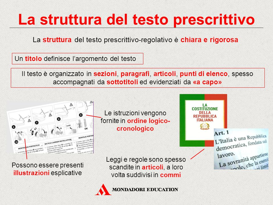 La struttura del testo prescrittivo