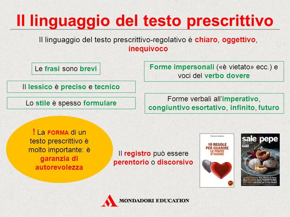 Il linguaggio del testo prescrittivo