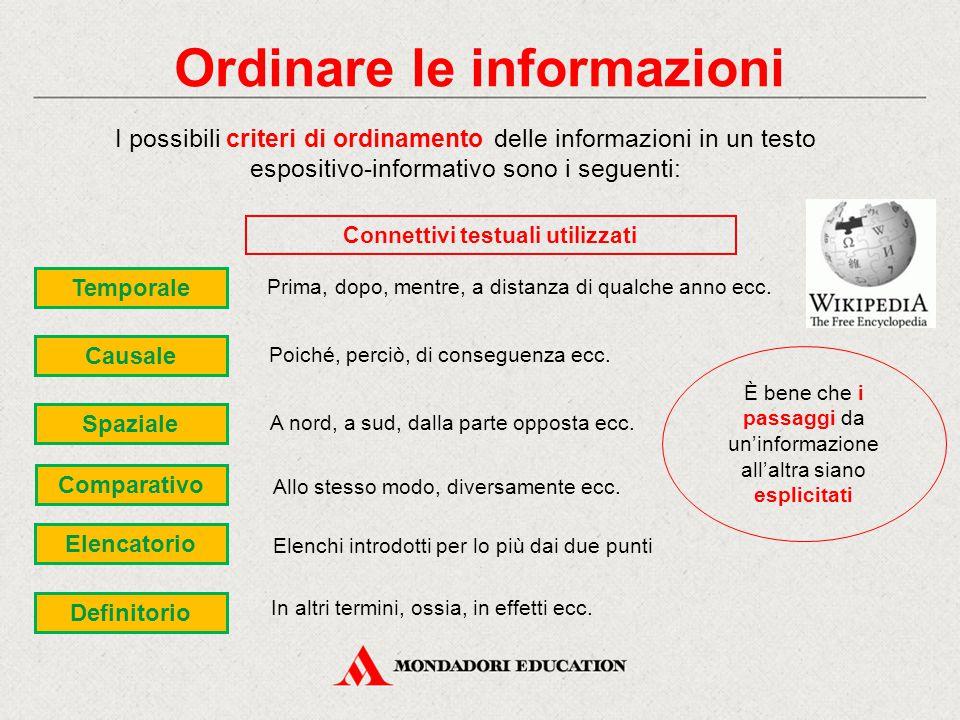 Ordinare le informazioni Connettivi testuali utilizzati