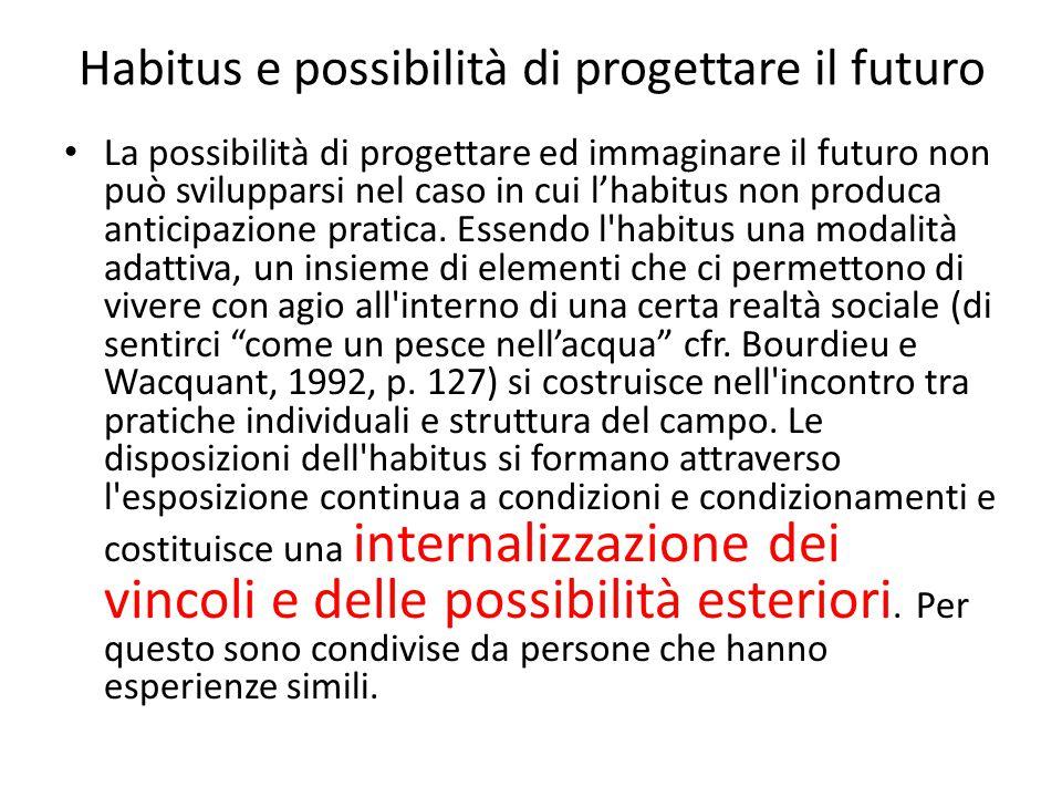 Habitus e possibilità di progettare il futuro